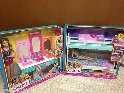 Barbie Sister Stacie Chelsea Skipper Sleeptime Bedroom Bunkbed Vanity Playset