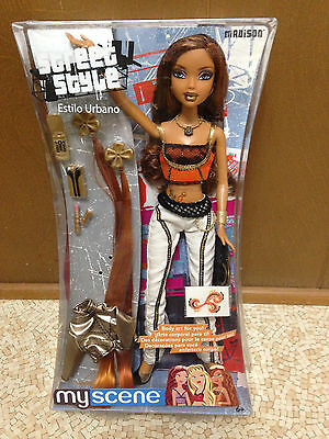 Barbie My Scene Madison Street Style Tattoo Orange Hair Streaks Belly Ring Rare