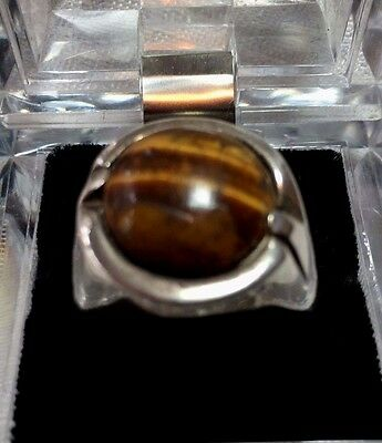 Vintage tiger eye ring, size 10, handcrafted, sterling silver