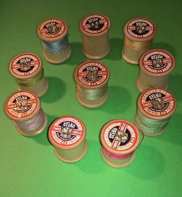 Vintage Wooden Cotton Reels - 10 Dewhursts Sylko Three Shells - Job Lot