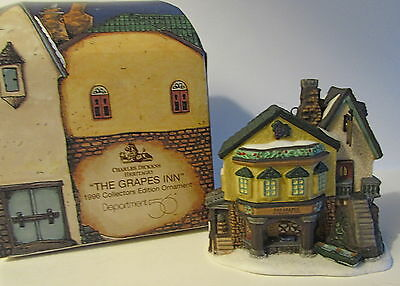 """'96 Dept 56 Charles Dickens Heritage """"grapes Inn"""" Coll. Ed. Ornament"""