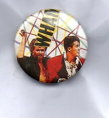 WHAM! BUTTON BADGE - GEORGE MICHAEL ANDREW RIDGELEY 80s POP BAND -FANTASTIC 25mm