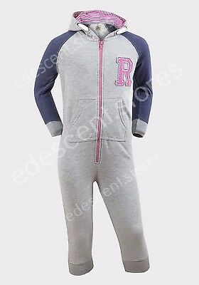 Girls New Hooded Onesiee Pyjamas All in One Playsuit Grey Soft Ages 3-4Y 7-8Y