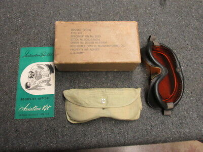 Wwii Us Army Air Force Type B-8 Flying Goggles W/ Box & (8) Spare Lenses