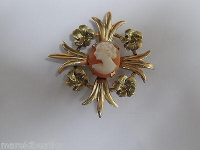 Vtg Signed Amco   1 / 20 12 K Gf  Carved Shell  Cameo Brooch With  Daisy Design