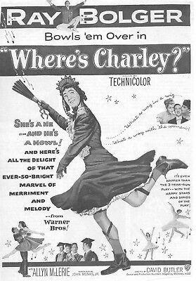 Where's Charley Movie Poster 8X10 Reproduction Photo