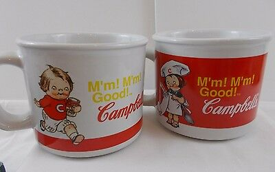 Campbells Soup Collector Mugs cup lot of 2 Bowl 2004 kids chef