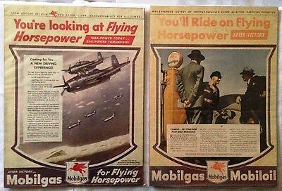TWO Mobilgas WWII Era Magazine Ads
