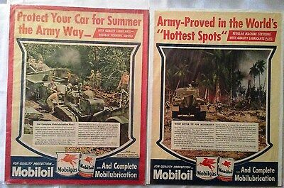 TWO Mobiloil/Mobilgas WWII Era Magazine Ads
