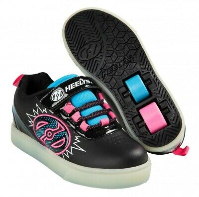Heelys X2 Pow Lighted Shoes - Black / Neon Blue / Neon Pink + Free How to DVD