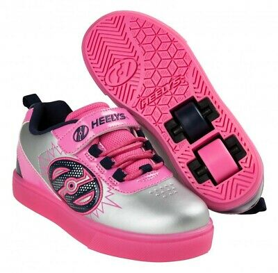 Heelys X2 Pow Lighted Shoes - Silver / Pink / Navy  + Free How to DVD
