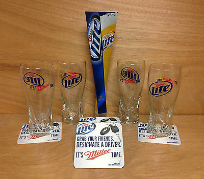 Miller Lite Beer Glass Bar Pack - Glasses , Coasters & Tap Handle - New & F/Ship