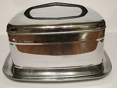 Vintage Square Silver Chrome Handled Covered Cake Carrier Keeper