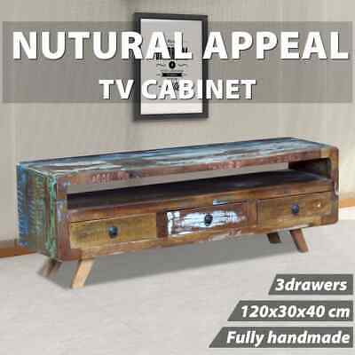 vidaXL Recycled Timber TV Stand Entertainment Unit Side Cabinet 3 Drawer Vintage
