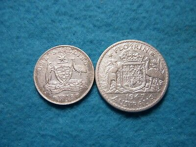 1947 Florin And 1918M Shilling Australia Silver Coins.
