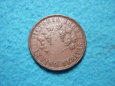 1862 Penny Old Australia Coin.