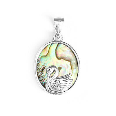Natural Abalone Paua Shell 925 Solid Sterling Silver Oval Shape Swan Pendant