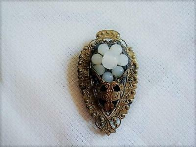 Vintage Art Deco Brass Dress Clip With Wired Glass Beads Flower As Found