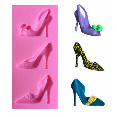 Silicone 3D High Heel Shoes Mould Cake Decorating Chocolate Baking DIY Mold J