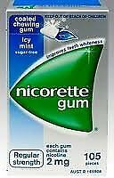NEW Nicorette Nicotine Gum Icy Mint 4 Boxes 420 Pieces 2mg FREE SHIPPING