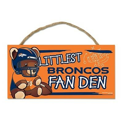 "Denver Broncos Littlest Fan 5""x10"" Fan Cave Wood Sign Authentic NFL Wall Decor"