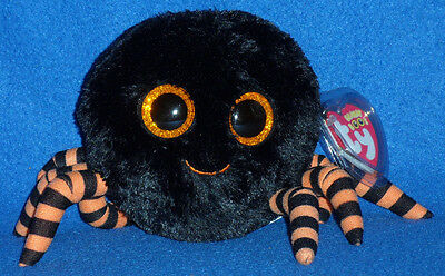 "TY BEANIE BOOS BOO'S - CRAWLY the 6"" BLACK SPIDER- MINT with  MINT TAGS"