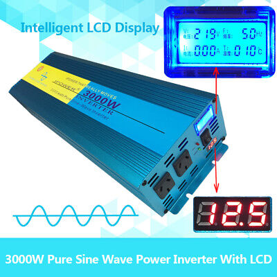 Pure Sine Wave Inverter 3000W / 6000W 12V TO 240V With LCD DISPLAY Double Socket