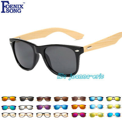 Womens Mens Retro Bamboo Sunglasses Vintage Wood Glasses UV400 Shades Eyewear