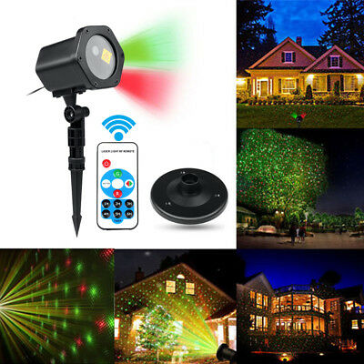 Christmas Star Light RED GREEN Show Laser LED MOTION Projector Outdoor Garden UK
