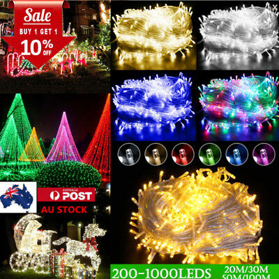 AU 20/30/50/100M 200-1000LEDS Chirstmas Fairy String Lights Outdoor Waterproof