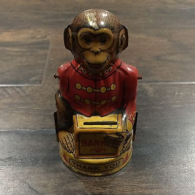 Vintage J. Chein Tin Litho Monkey Mechanical Coin Bank Circa 1940 Nice