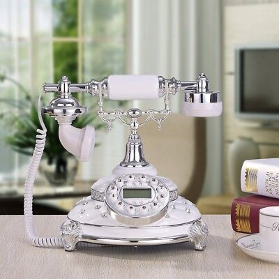White Antique Rotary Phone Old Fashioned Telephone Princess French Vintage