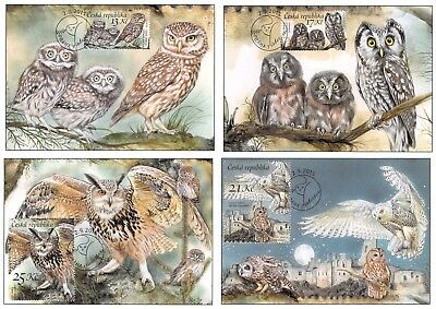 Czech Republic bird stamps 2015 maxi cards, very low issue