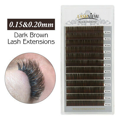 Lashview Dark Brown Eyelash Extensions Individual Semi Permanent Lashes C Curl