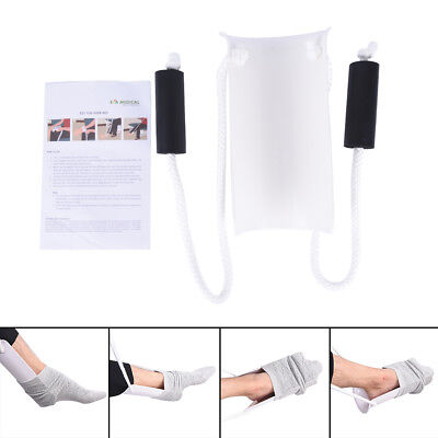 White Sock Stocking Aid With Foam Grip 31in Cord Puller Assist Disability ToolHG