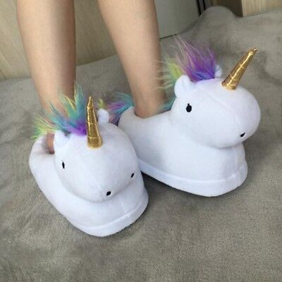 Christmas Unicorn Slippers Home Novelty Fluffy Shoes Winter Foot Warmer Unisex