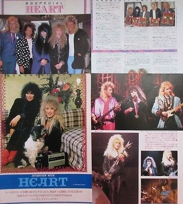 HEART ANN & NANCY WILSON 1986 CLIPPING from 3 BURRN JAPAN MAGAZINE VM 8PAGE
