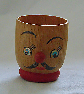 Egg Cup -  Tiny wooden cup with a Red nose  - 0508