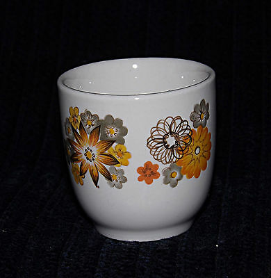 Egg Cup - Yellow and Grey flowers - 0382