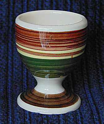 Egg Cup -  Handpainted Brown & Green Stripes - 0552