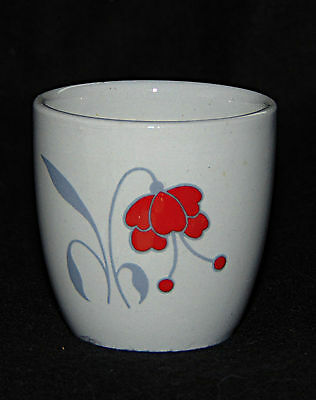 Egg Cup -  Stylised Red flowers & Grey leaves - Woods & Sons - 0493