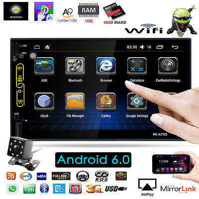 """7"""" 2DIN Android 6.0 Quad Core GPS 3G WIFI BT HD Car FM Radio Stereo MP5 Player"""