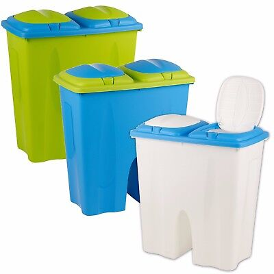 2 x 25 50 Litre Coloured Recycling Double Waste Bin Duo Rubbish Plastic Disposal
