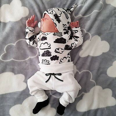 Infant Newborn Baby Girl Boy T-shirt Tops+Pants Trousers+Hat 3PC Outfit Clothes