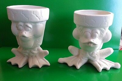 """Ceramic Bisque Pair of silly Frog Pots. 4""""/100mm tall approx. To glaze or Paint"""