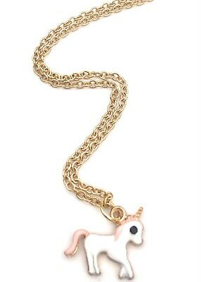 Pink and white unicorn charm with gold plated stainless steel chain in gift box