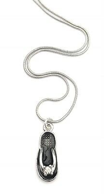 Black flip flop charm necklace in gift box, holiday birthday gift