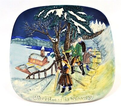 """BESWICK 'CHRISTMAS in NORWAY' 8"""" Sq' WALL PLATE LTD EDITION c.1975 ROYAL DOULTON"""