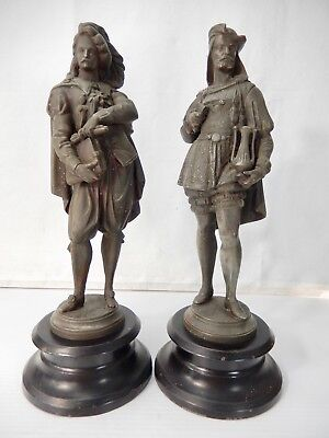 Pair Antique Spelter Male Figures on Steel Bases.