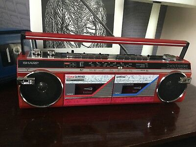 Vintage Red Sharp Twin Cassette Deck WQ-272 Radio Boombox Boom Box Tape Faulty
